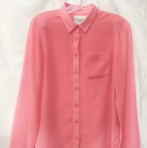 American Eagle Outfitters Hot Pink Sheer Button up